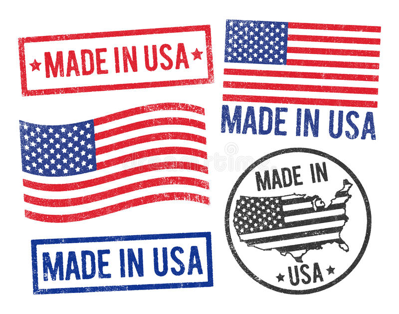 Hecho en sellos de los E stock de ilustración