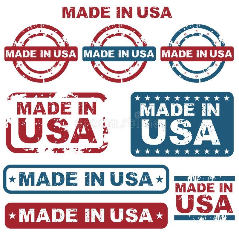 Hecho en sellos de los E.E.U.U. ilustración del vector