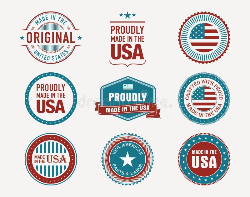 Hecho en sellos y sellos de los E.E.U.U. stock de ilustración