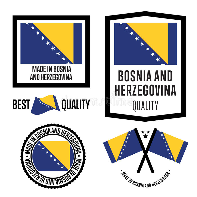 Hecho en sistema de etiqueta de Bosnia y Herzegovina ilustración del vector