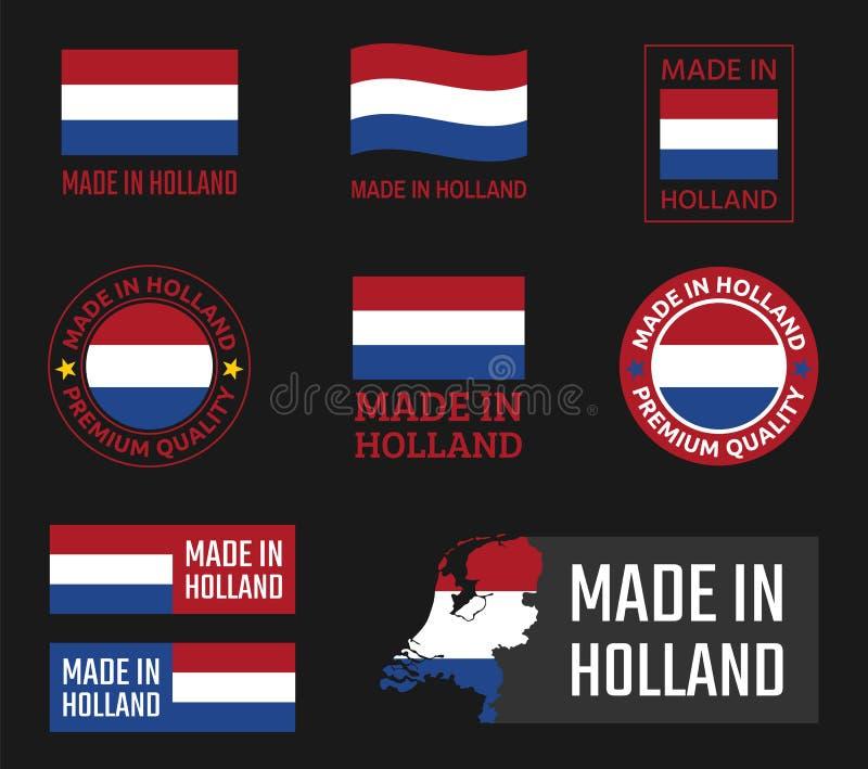 Hecho en sistema de etiquetas de Países Bajos, emblema del producto de Holanda stock de ilustración