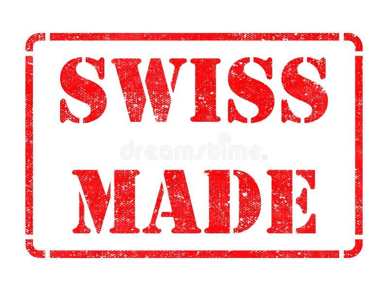 Hecho en Swizerland - inscripción en sello de goma rojo. stock de ilustración