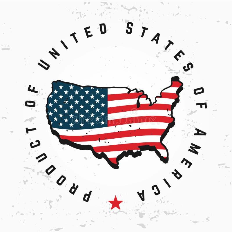 Hecho en vector del monograma de los E.E.U.U. Diseño del logotipo de América del vintage Estados Unidos retros sellan ilustración del vector
