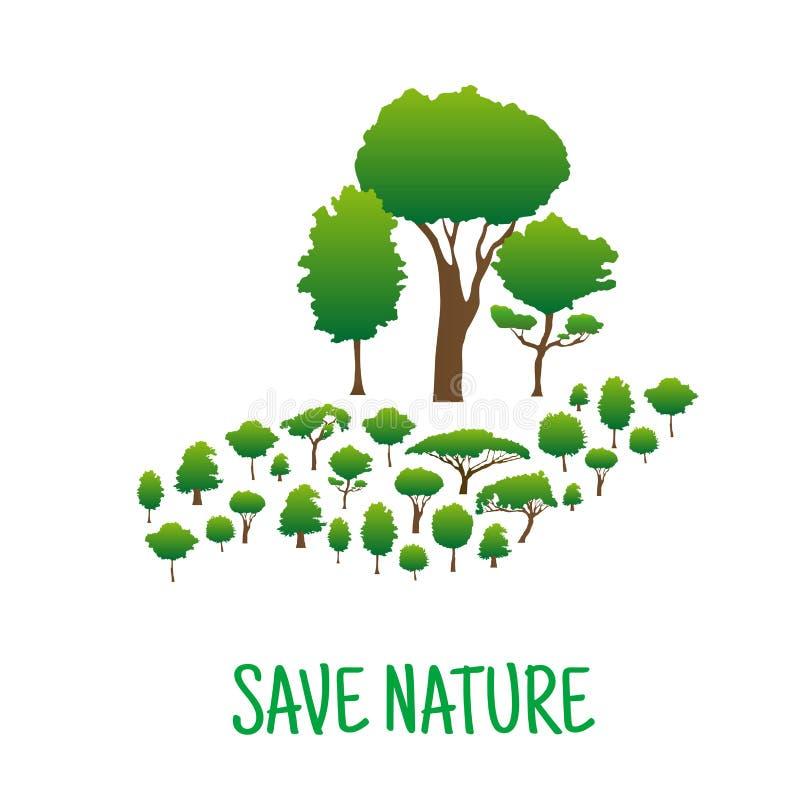 Hecho a mano de árboles verdes Excepto concepto de la naturaleza stock de ilustración