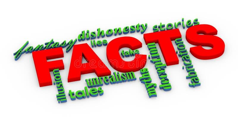 hechos 3d contra wordcloud de las mentiras stock de ilustración