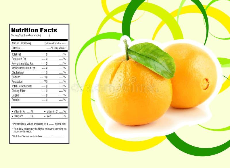 Hechos anaranjados de la nutrición stock de ilustración