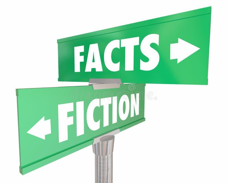 Hechos contra verdad de la ficción o señales de tráfico de la calle de las mentiras libre illustration