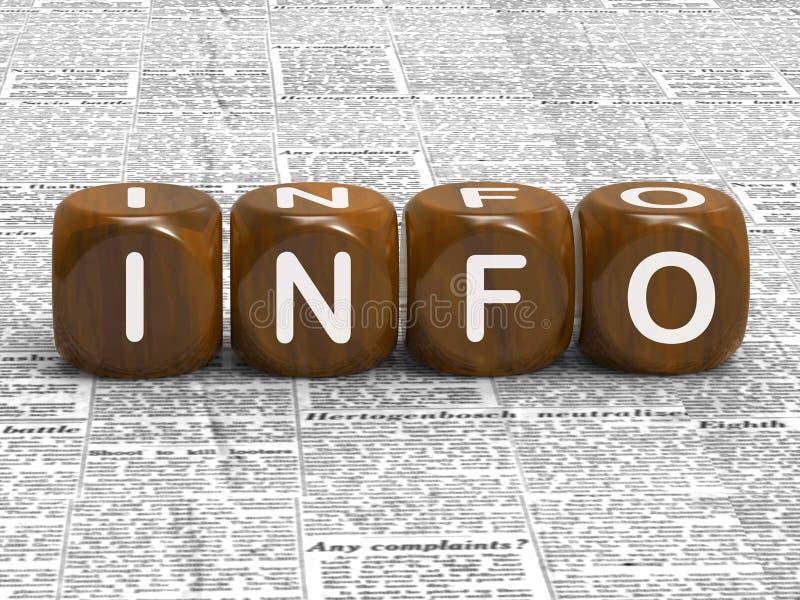 Hechos datos y detalles de la demostración de los dados de la información stock de ilustración