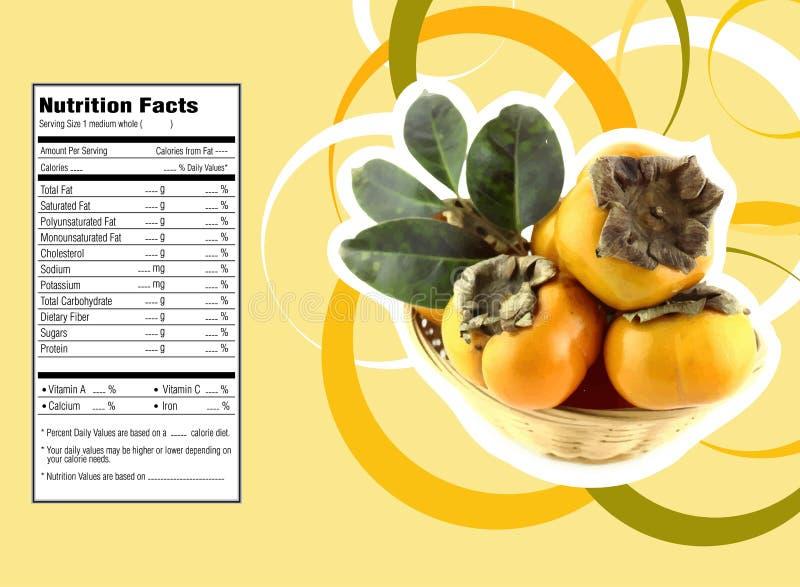 Hechos de la nutrición de la fruta del caqui ilustración del vector