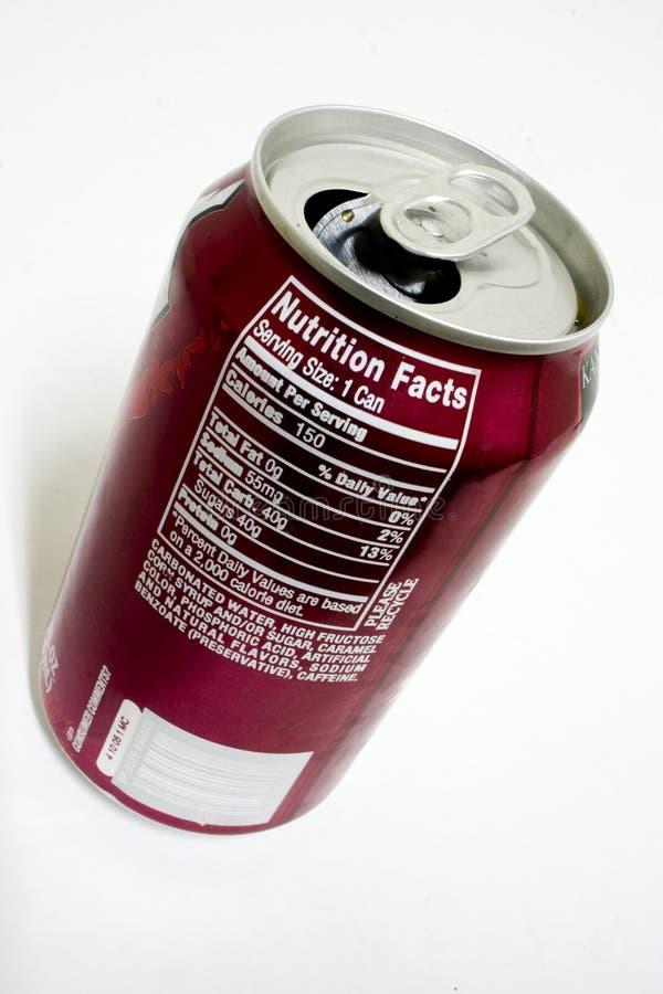 Hechos de la nutrición de la soda imagenes de archivo