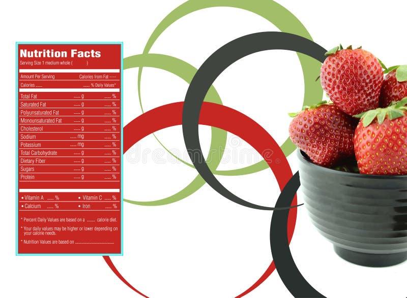 Hechos de la nutrición de las fresas stock de ilustración
