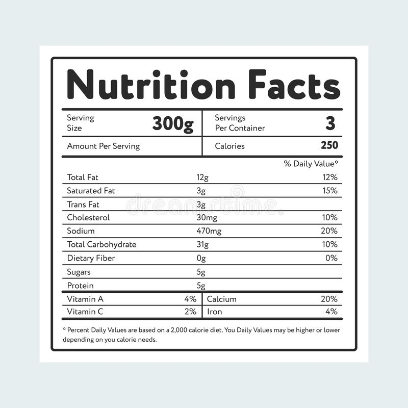 Hechos de la nutrición en etiqueta en azul claro ilustración del vector