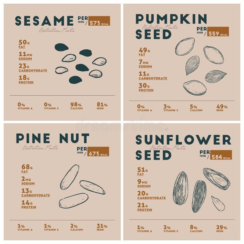 Hechos de la semilla, vector de la nutrición del bosquejo del drenaje de la mano libre illustration