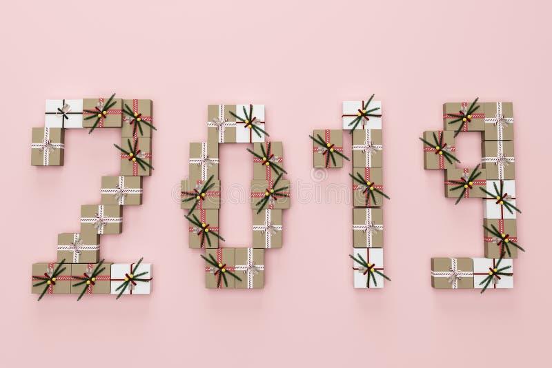 2019 hechos de presentes, rosa ilustración del vector