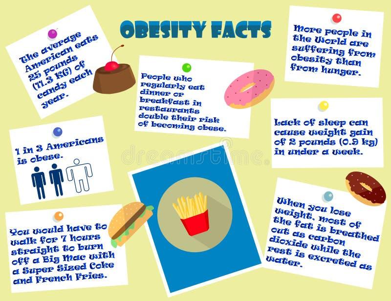 Hechos infographic coloridos de la obesidad stock de ilustración