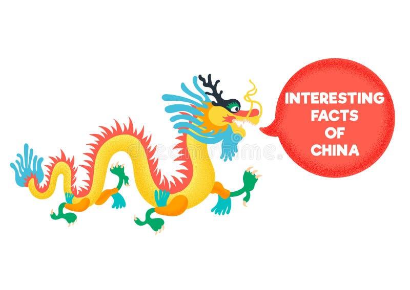 Hechos interesantes de China El dragón chino está en diálogo ilustración del vector