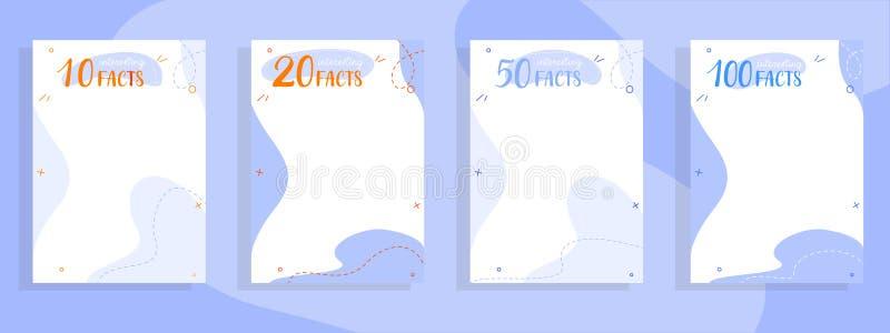 10,20,50,100 hechos interesantes enumeran las plantillas coloridas para la web stock de ilustración