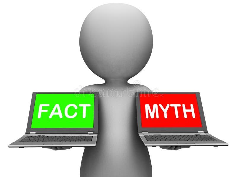 Hechos o mitología de la demostración de los ordenadores portátiles del mito del hecho stock de ilustración