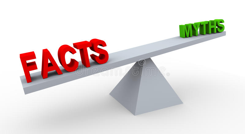 hechos y mitos de la palabra 3d en balanza libre illustration