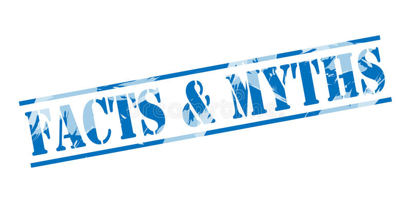 Hechos y sello azul de los mitos stock de ilustración