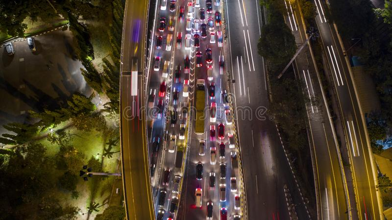 Hectic traffic on the tollway at night. Aerial photo of hectic traffic on the tollway at night time in Jakarta, Indonesia royalty free stock image
