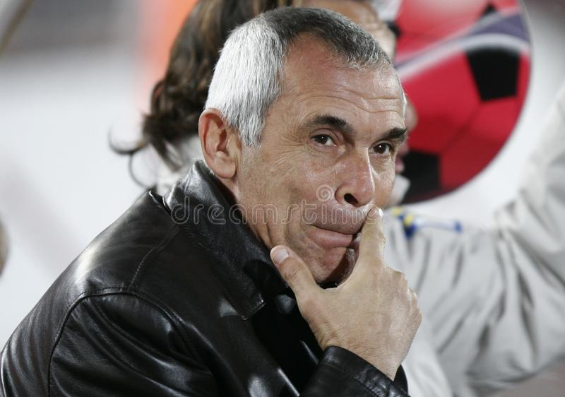 Hector Cuper Argentina soccer coach. Argentina coach Hector Raul Cuper gestures before his match in the Spanish island of Mallorca. Actually manages Egypt stock image