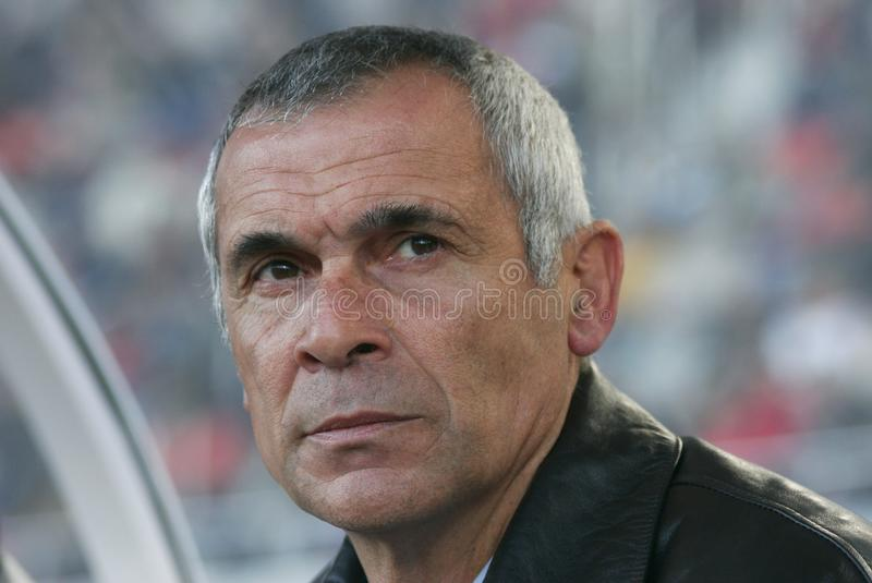 Hector Cuper Argentina soccer coach look. Argentina coach Hector Raul Cuper gestures before his match in the Spanish island of Mallorca. Actually manages Egypt stock photography