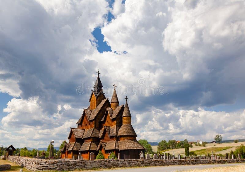 Heddal梯级教会泰勒马克郡挪威Scandanavia 免版税库存图片