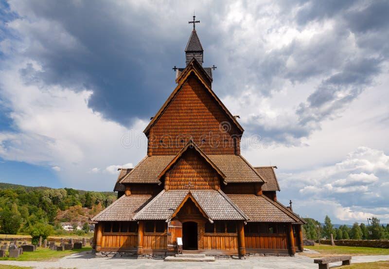 Heddal梯级教会泰勒马克郡挪威Scandanavia 图库摄影