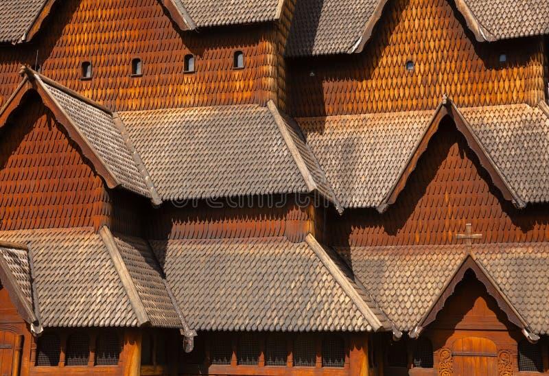 Heddal梯级教会门面泰勒马克郡挪威斯堪的那维亚 库存图片