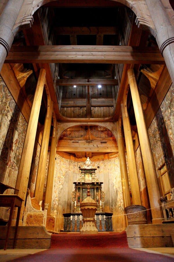 Heddal Stave Church, a igreja a maior da pauta musical de Norways, a municipalidade de Notodden, o melhor preservado de igrejas d imagem de stock