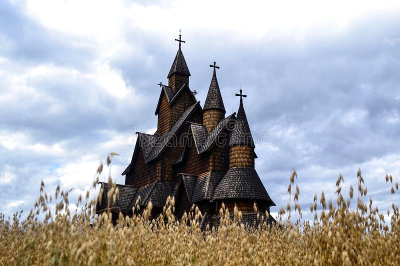 Heddal stavechurch in Notodden. This Big stavechurch is in Telemark county in Norway and one of the biggest stavechurches in Norway. Alot of tourists Visit every royalty free stock image
