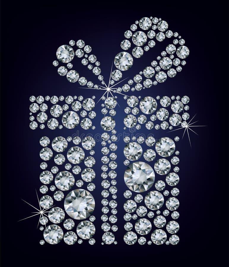 Heden van de gift maakte omhoog heel wat diamanten op blac stock illustratie