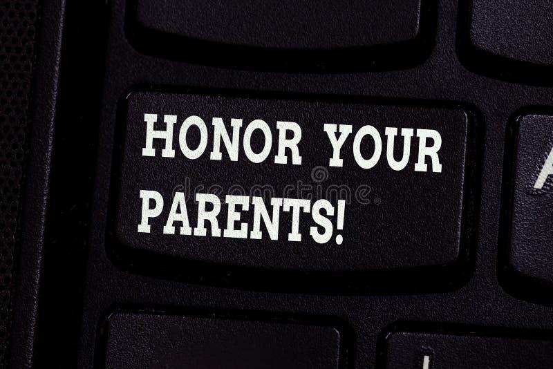 Heder för handskrifttexthandstil dina föräldrar Aktning för hög respekt för begreppsbetydelse stor för ditt äldre tangentbord för royaltyfri foto