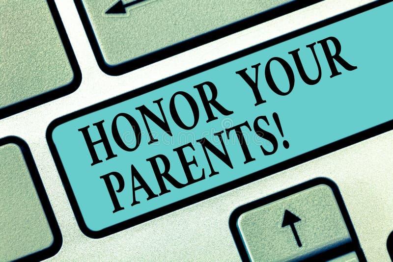 Heder för handskrifttexthandstil dina föräldrar Aktning för hög respekt för begreppsbetydelse stor för ditt äldre tangentbord för royaltyfri fotografi