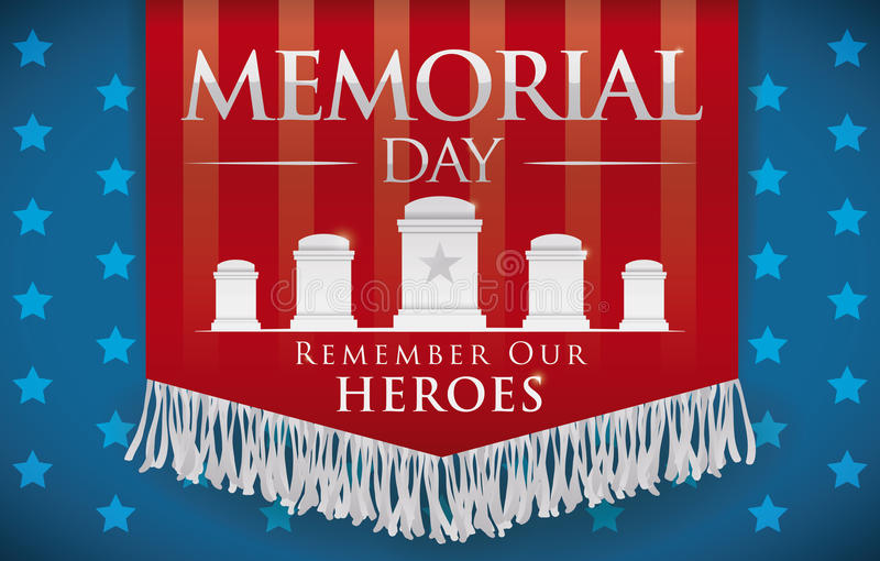 Heders- baner för Memorial Day som minns stupade hjältar, vektorillustration royaltyfri illustrationer