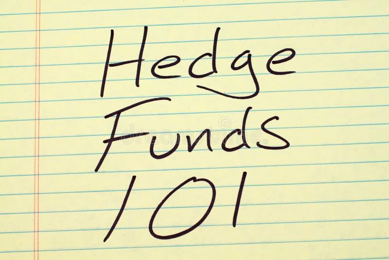 Hedge Funds 101 på ett gult lagligt block royaltyfria foton