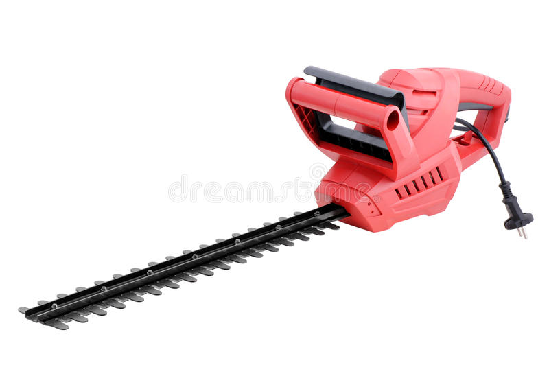 Hedge trimmer. Electric hedge trimmer on white background stock photography