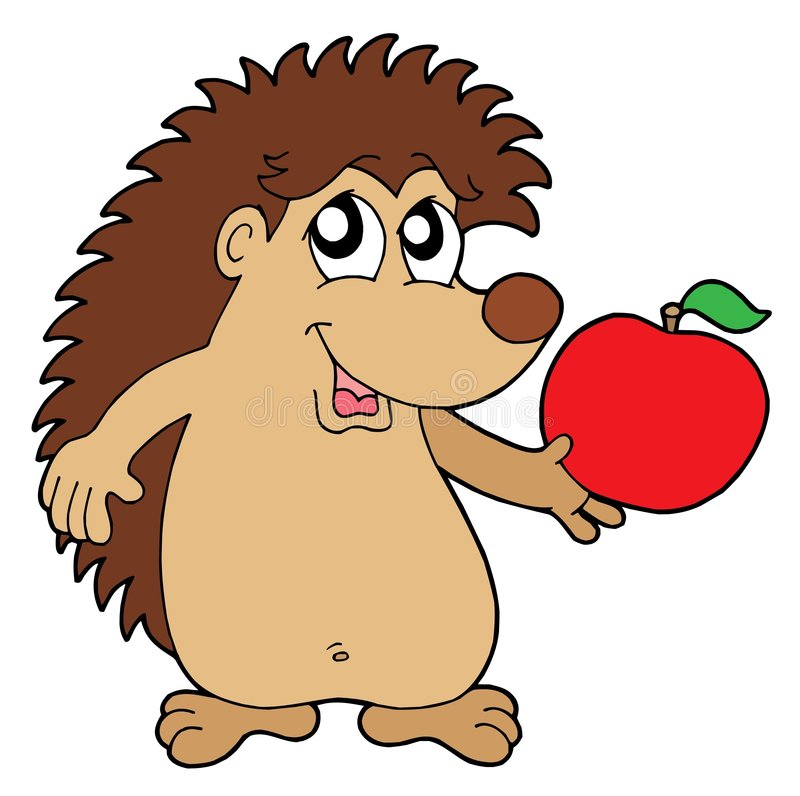 Download Hedgehog With Apple Vector Illustration Stock Images - Image: 5707624