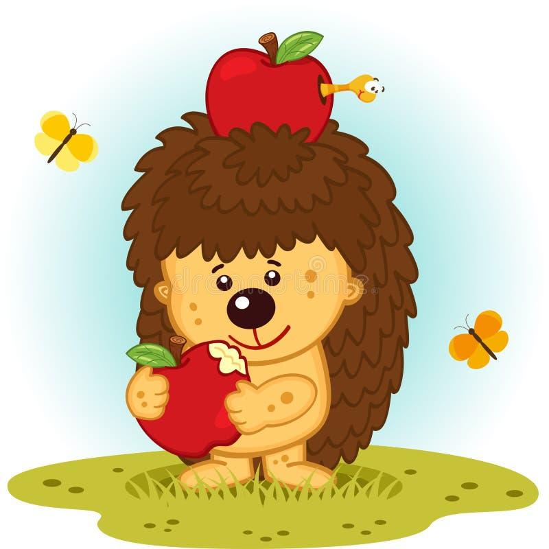 Hedgehog with apples royalty free illustration
