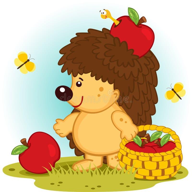 Hedgehog with basket of apples vector illustration