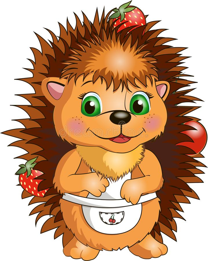 Hedgehog with berries in apron on white background vector illustration