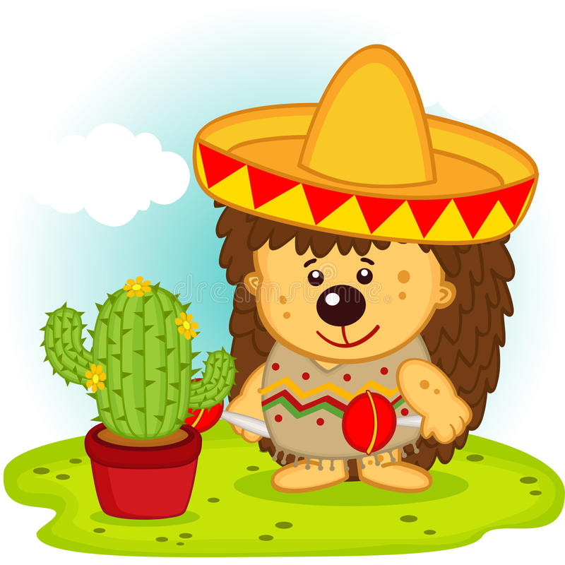 Hedgehog and cactus on the Mexican fiesta royalty free illustration