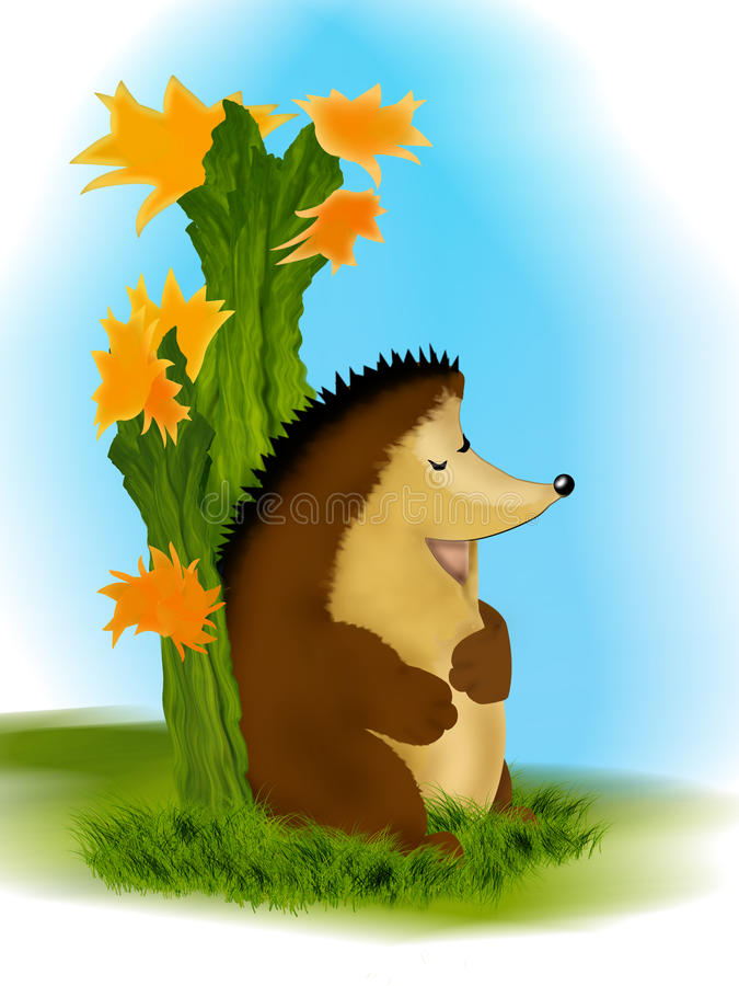 The hedgehog and the cactus plant stock photography