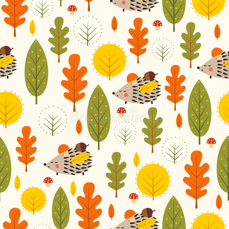 Hedgehog and decorative leaves seamless pattern. royalty free illustration