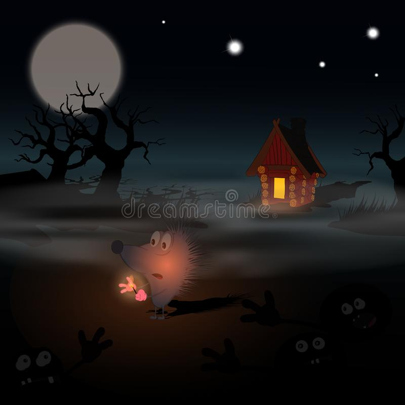 Hedgehog in the fog with a match in the dark on a swamp among horror stories. Vector illustration on the theme of halloween. Drawing for cards, banners, posters vector illustration
