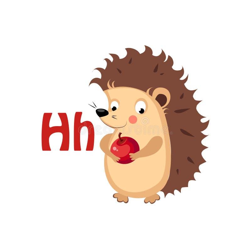 Hedgehog. Funny Alphabet, Animal Vector Illustration. Hedgehog. Funny Alphabet, Colourful Animal Vector Illustration royalty free illustration