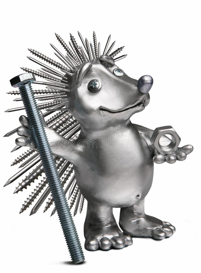 Hedgehog holding a bolt and nut. stock photography