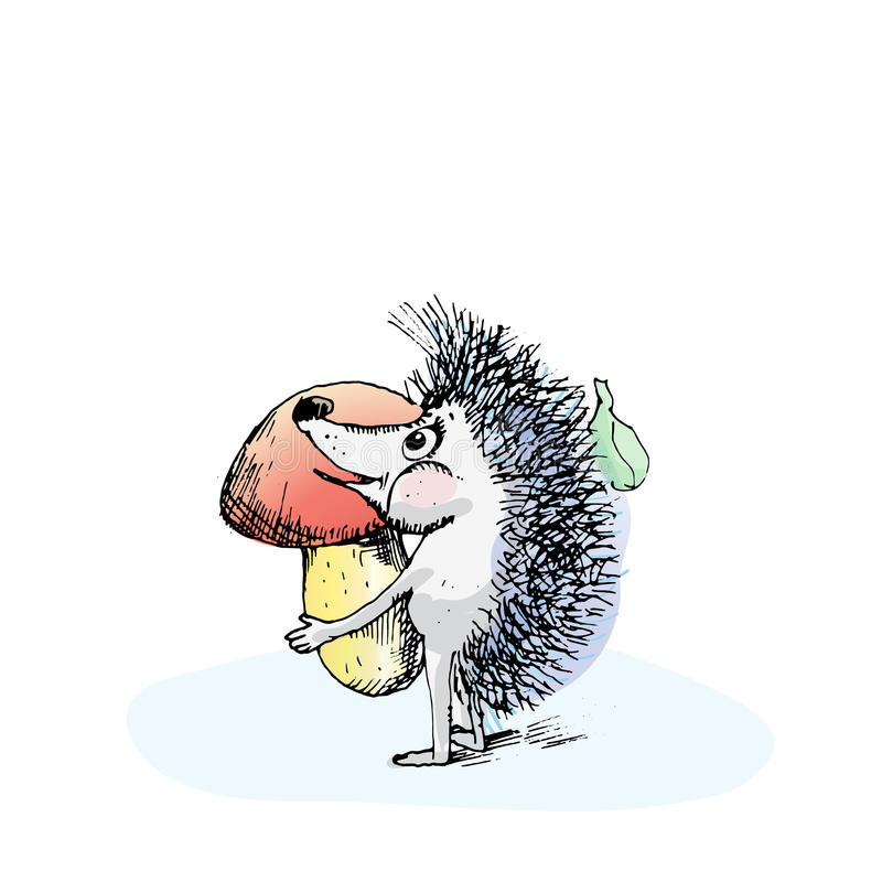 Download Hedgehog watercolor stock illustration. Illustration of design - 69541847