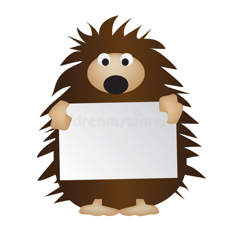 Hedgehog holding sign vector illustration